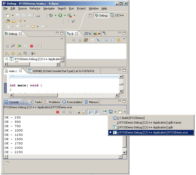Viewing The FreeRTOS Simulator Output In Eclipse