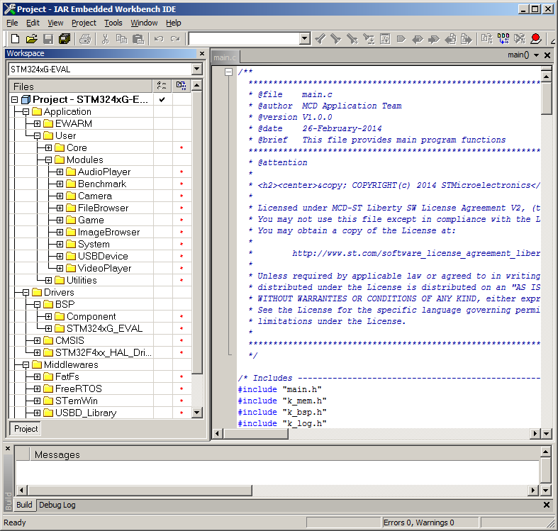 The ARM Cortex-M RTOS example shown in the IAR embedded workbench IDE